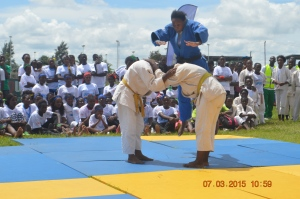 Nokuthula Banda (in blue) during a demonstration on IWD2015